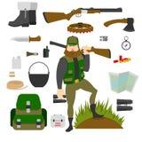 Cazador con el sistema de amunition aislado Arma, cuchillo, hacha, equipo de primeros auxilios, mapa, patrontage, bandolera, fras Imágenes de archivo libres de regalías