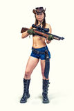 Cazador de la muchacha del vaquero con un arma Imagen de archivo