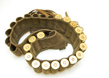 Cazador de la pistolera con los cartuchos de la escopeta Imagen de archivo libre de regalías