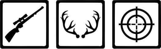 Cazador de los iconos de la caza ilustración del vector