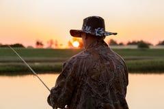 Cazador de Pike en el río Fotografía de archivo