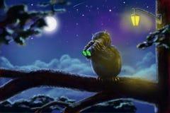 Cazador del búho de la diversión con el dispositivo de visión nocturna stock de ilustración