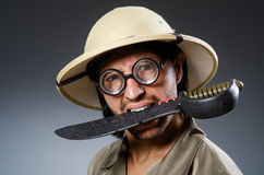 Cazador divertido del safari Imagen de archivo