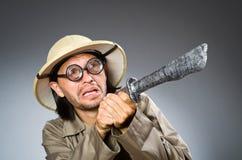 Cazador divertido del safari Fotografía de archivo