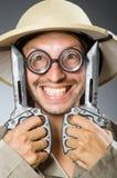 Cazador divertido del safari Imagen de archivo libre de regalías