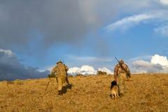 Cazadores y perros americanos del coyote en salida del sol árida Imagenes de archivo