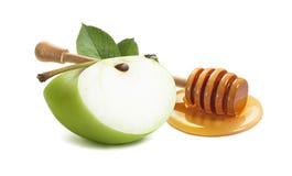 Cazo verde del pedazo y de la miel de la manzana por Año Nuevo judío Fotos de archivo libres de regalías