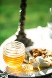 Cazo y panal de la miel Imagen de archivo libre de regalías