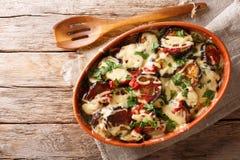 Cazuela vegetal de las berenjenas con los tomates y la mozzarella imagenes de archivo