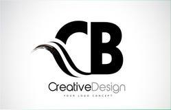 CB Γ Β δημιουργικό σχέδιο επιστολών βουρτσών μαύρο με Swoosh απεικόνιση αποθεμάτων