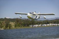 CB Amphibious seaplane taking off from Lake Casitas, Ojai, California Royalty Free Stock Images
