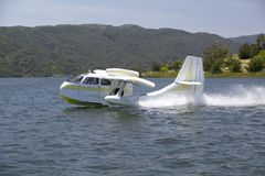 CB Amphibious seaplane taking off from Lake Casitas, Ojai, California Stock Photos