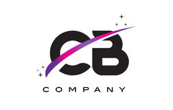 CB C B Black Letter Logo Design with Purple Magenta Swoosh Stock Photography
