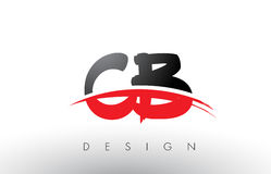 CB C B Brush Logo Letters with Red and Black Swoosh Brush Front Royalty Free Stock Photography