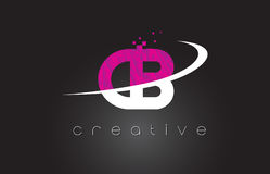 CB C B Creative Letters Design With White Pink Colors Stock Photos