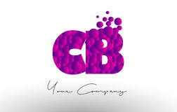 CB C B Dots Letter Logo with Purple Bubbles Texture. Royalty Free Stock Images
