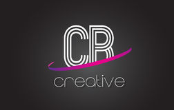 CB C B Letter Logo with Lines Design And Purple Swoosh. Stock Image