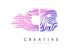 CB C B Zebra Lines Letter Logo Design with Magenta Colors Stock Photography