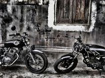 Cb and caferacer. My bike is old bike. Stay on the way Stock Image