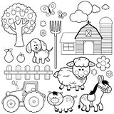 Farm animals collection. Vector black and white coloring page. Set of farm animals. Farm animals, donkey, pig, sheep, dog, tree, farm building, fruits, a wooden royalty free illustration