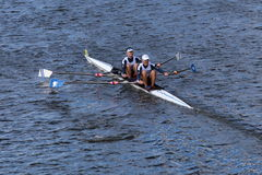 CBC rowing with Eric Lev and Joe Linhoff race in the Head of Charles Regatta Men's Master Doubles Stock Images