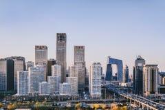 CBD大厦区在北京,在阳光下的中国 免版税库存照片