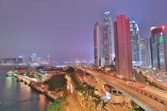 CBD на ноче центрального Гонконга Стоковая Фотография RF