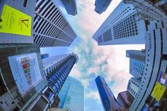 Небоскребы на Сингапуре CBD Стоковые Изображения