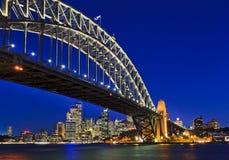 悉尼桥梁40 CBD日落 免版税库存图片