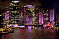 CBD Buildings of Sydney coloured during Vivid Sydney Stock Photo