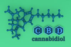 CBD cannabidiol structure in blue and green color. Illustration with CBD molecule and chemical structure in blue and green color. 3d illustration stock illustration