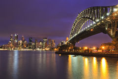 Мост Сиднея CBD заход солнца 31 mm Стоковые Фотографии RF