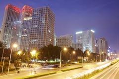 CBD-nachtscène, de stad van Peking Stock Afbeeldingen