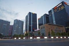 CBD-nachtscène, Peking Stock Afbeeldingen