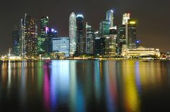 cbd noc Singapore linia horyzontu Obraz Stock