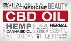 CBD oil related tags word cloud. Illustration royalty free illustration