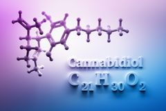 CBD structure on pink background. CBD cannabidiol molecular chemical structures. Image with pink blue color gradient. 3d illustration stock illustration