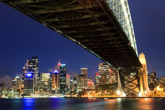 CBD Under Bridge Dusk Royalty Free Stock Photos
