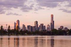 cbd wieczór Melbourne Obrazy Royalty Free