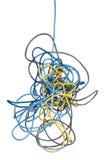 Câbles embrouillés de réseau Photos stock