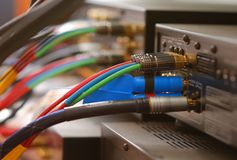 Câbles à la maison de salle de cinéma Images libres de droits