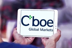Cboe Global Markets logo. Logo of Cboe Global Markets on samsung tablet. Cboe Global Markets is an American company that owns the Chicago Board Options Exchange Royalty Free Stock Photo