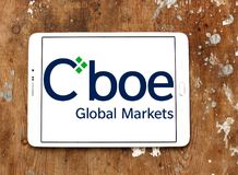 Cboe Global Markets logo. Logo of Cboe Global Markets on samsung tablet. Cboe Global Markets is an American company that owns the Chicago Board Options Exchange Royalty Free Stock Images