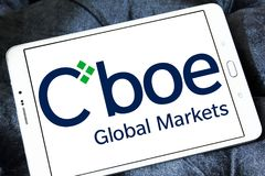 Cboe Global Markets logo. Logo of Cboe Global Markets on samsung tablet. Cboe Global Markets is an American company that owns the Chicago Board Options Exchange Stock Images
