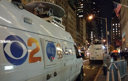 CBS 2纽约, WLNY电视播送新闻范, NYC,美国 库存照片