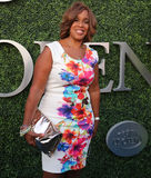 CBS ancrent Gail King assiste à la correspondance 2015 de tennis d'US Open entre Serena et Venus Williams Photos stock