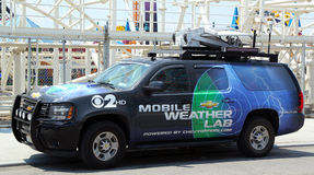 CBS Channel 2 mobile weather lab in Brooklyn, NY. BROOKLYN, NY- MAY 30:CBS Channel 2 mobile weather lab in Brooklyn, NY on May 30, 2013. The Weather Lab has high royalty free stock photography