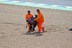 125cc的丹尼尔Kartheininge飞行员在MotoGP的 库存图片