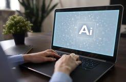CC$AI Sztuczna inteligencja, Mądrze innowacja w przemysłu biznesie, technologia i życia pojęcie na wirtualnym ekranie, fotografia stock