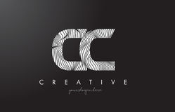 CC C C Letter Logo with Zebra Lines Texture Design Vector. Royalty Free Stock Images
